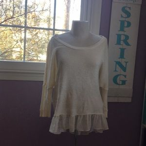 Comfy sweater with ruffles at bottom